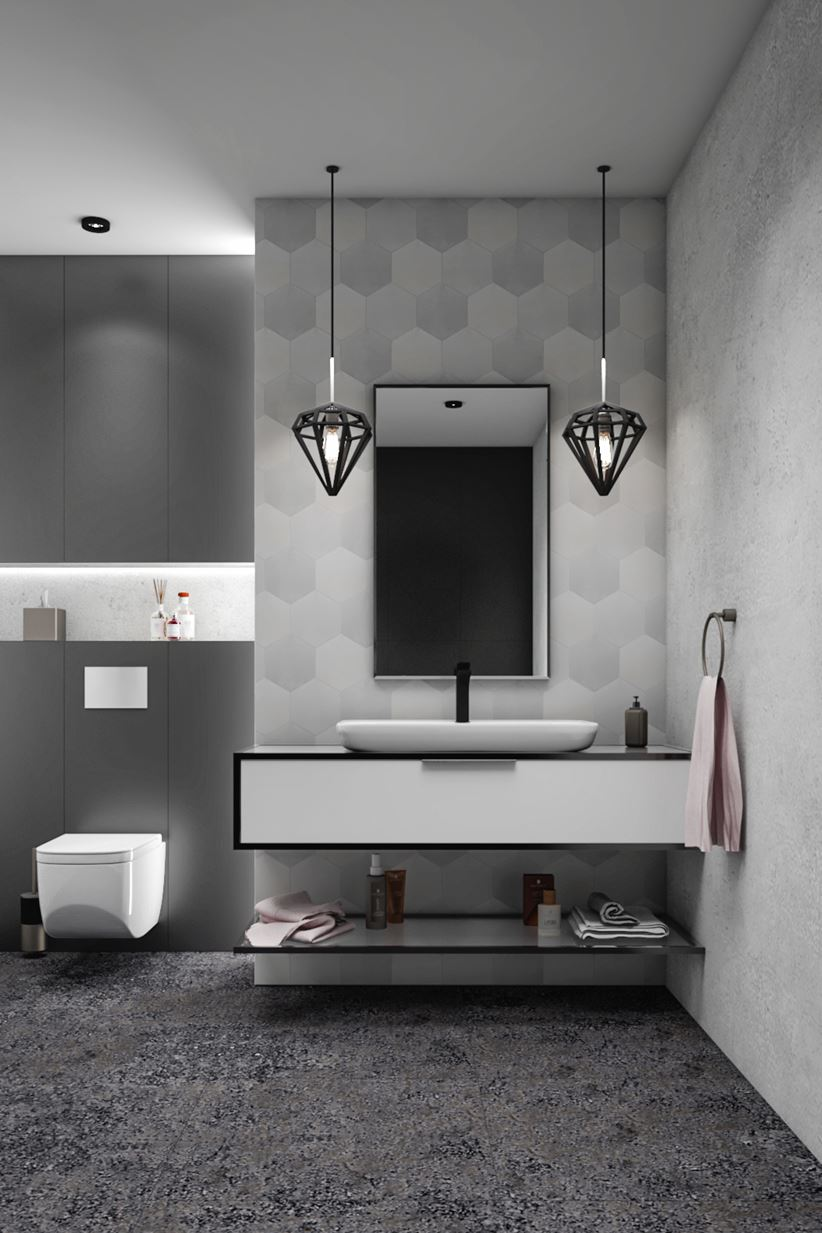 Strefa umywalkowa z produktem nablatowym z serii Lal