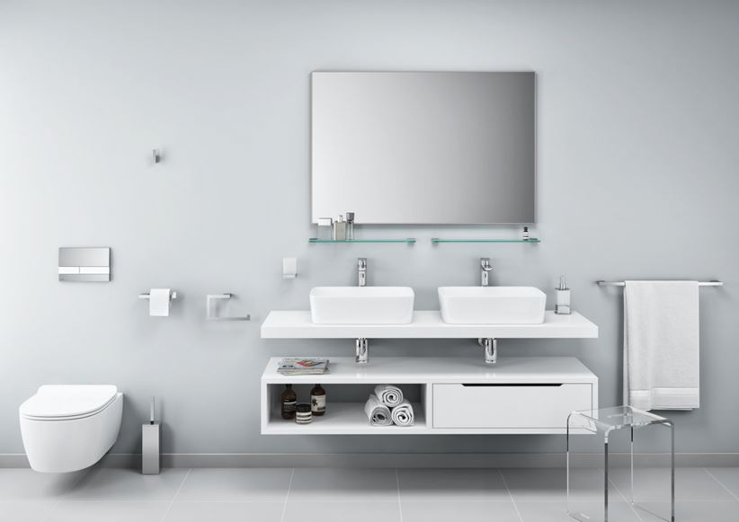 Biała łazienka z akcesoriami Excellent Riko