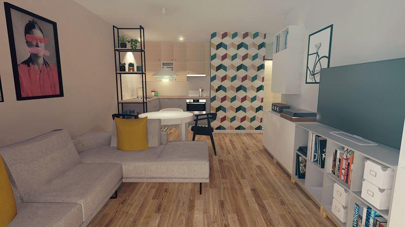 Salon z kolorową tapetą w tle