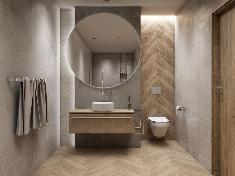 Beton i drewno w nowoczesnej łazience