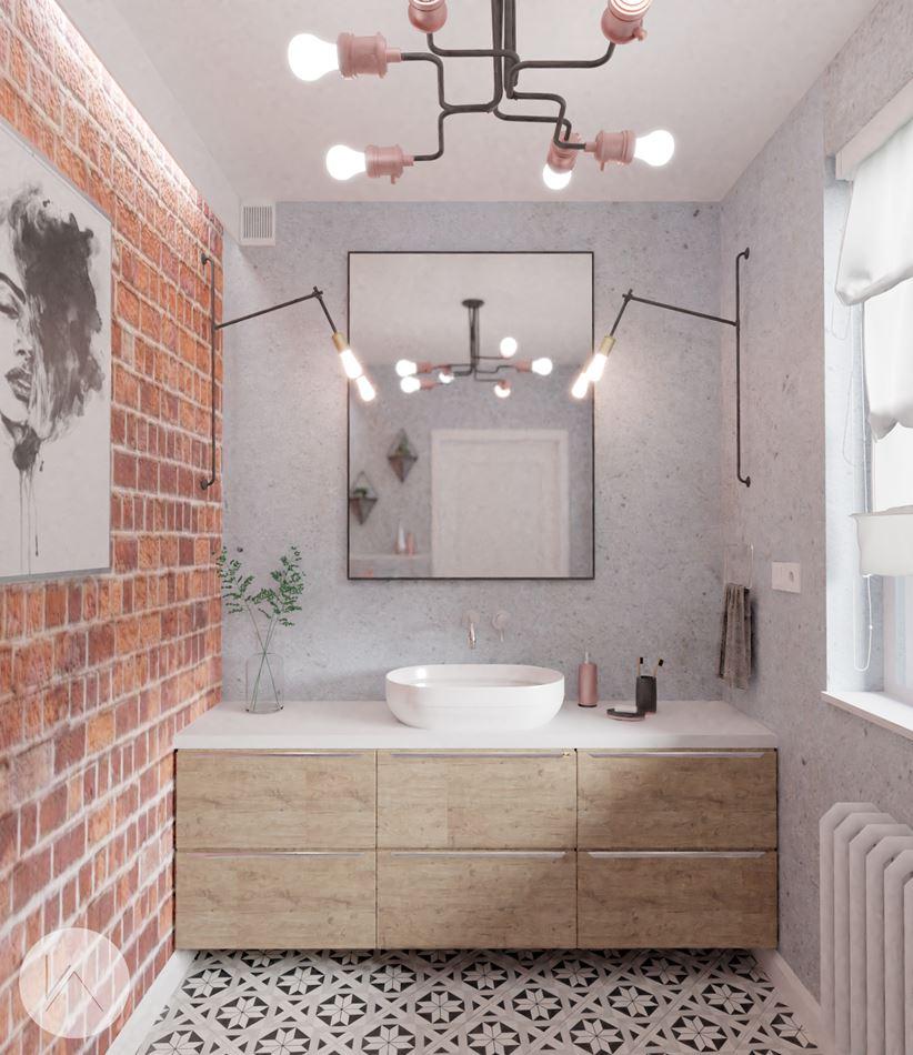 Surowa łazienka w stylu inudstrialnym