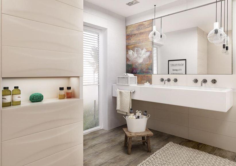 Strefa umywalkowa w beżowej łazience Paradyż Manteia