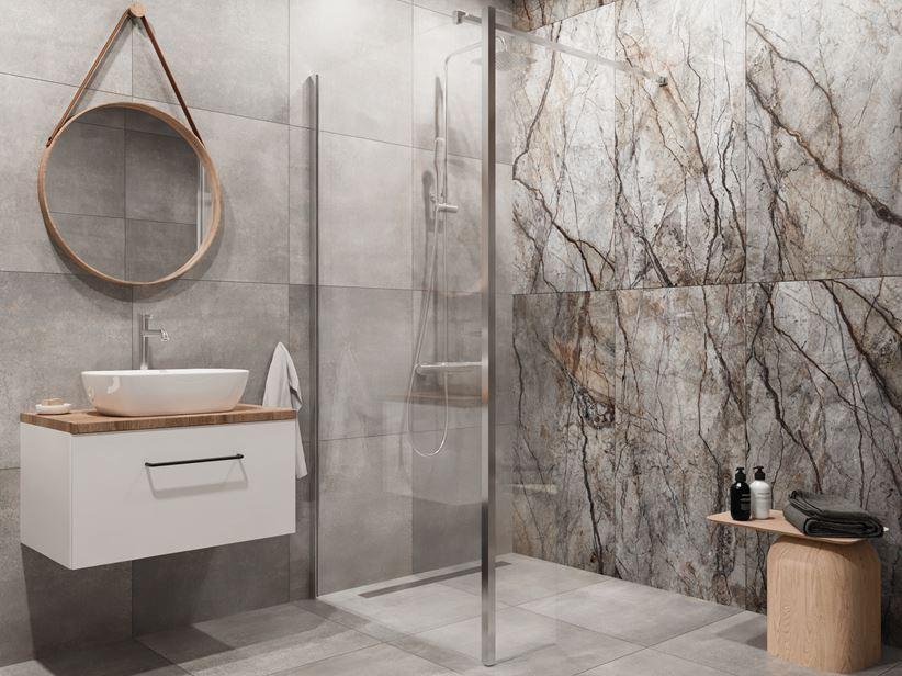 Nowoczesna łazienka z płytami z wzorem kamienia