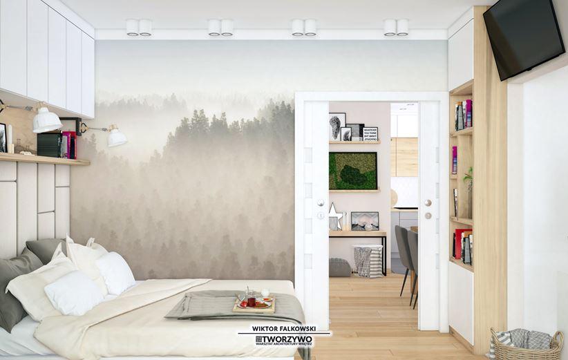 Tapeta z widokiem w małej sypialni