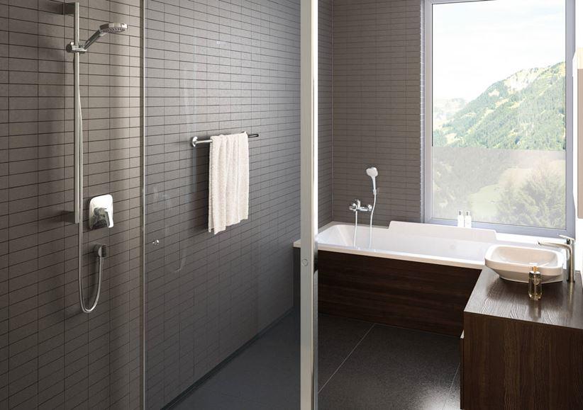 Aranżacja łazienki z linią Hansgrohe Croma Selet E