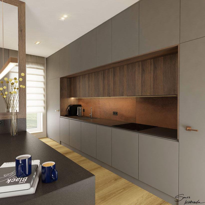 Minimalistyczna zabudowa kuchenna w szarym kolorze