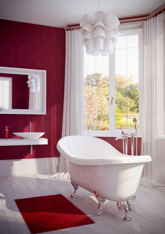 Biało Czerwona łazienka Z Akcentami Retro Omnires Art Deco