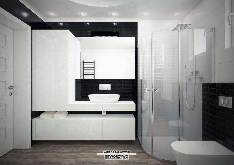 Modny kontrast w małej łazience