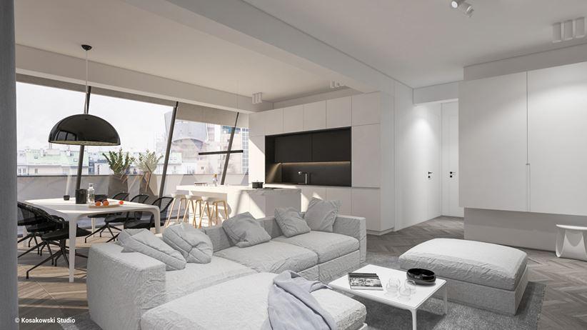 Przestronny otwarty salon w apartamencie w Warszawie