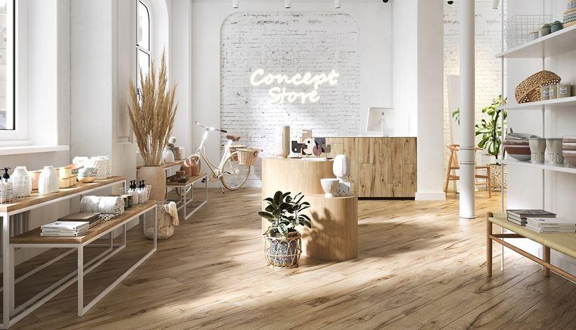 Przestrzeń usługowa w bieli i drewnie