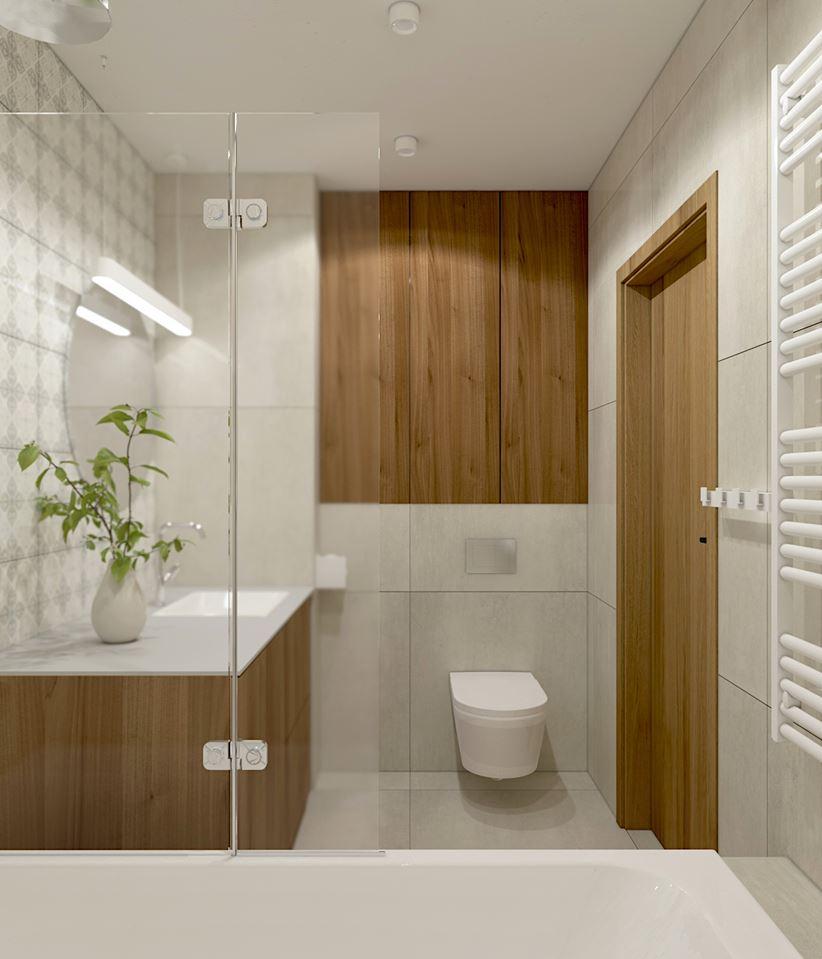 Prosta łazienka z szarością i ciepłym drewnem