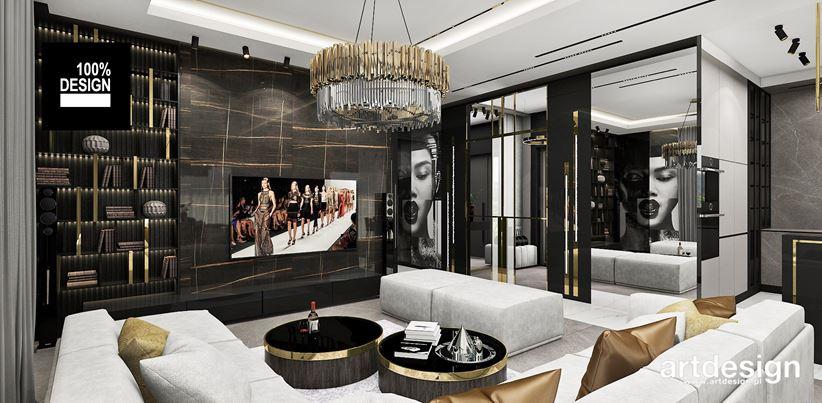 Luksusowa ścianka telewizyjna i fototapeta w salonie