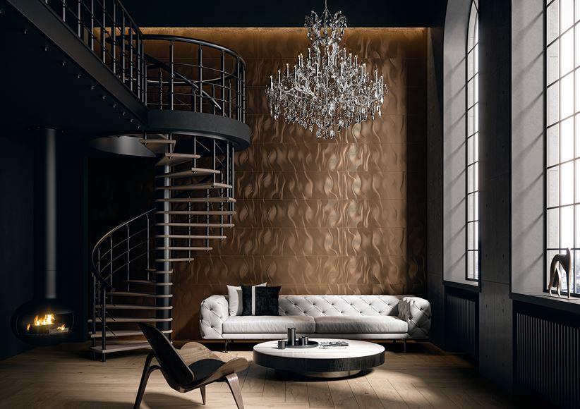 Aranżacja salonu w stylu glamour z płytkami Paradyż Night Queen