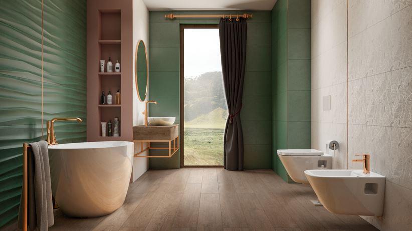Zielona łazienka glamour z oknem