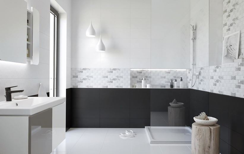 Czarno Biała łazienka Z Subtelnym Patchworkowym Wzorem