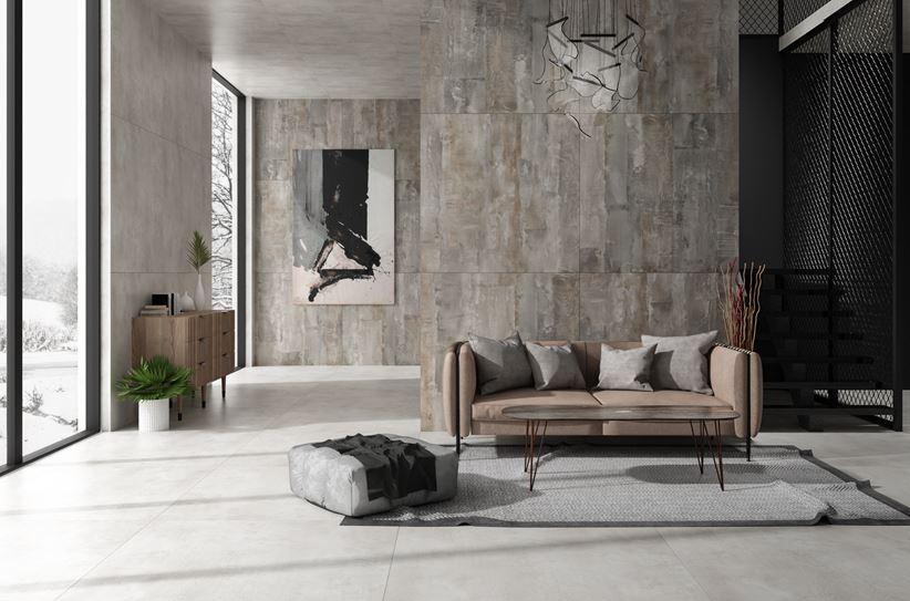 Przestrony salon wypoczynkowy w stylu industrialnym