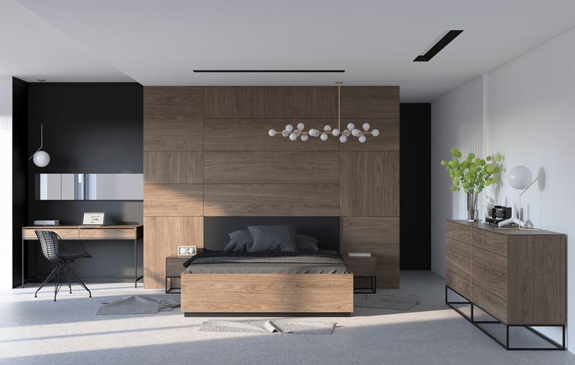 Sypialnia z eleganckim, ciemnym drewnem