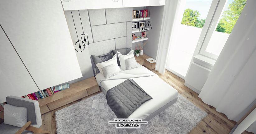 Przytulna sypialnia z wyjściem na balkon