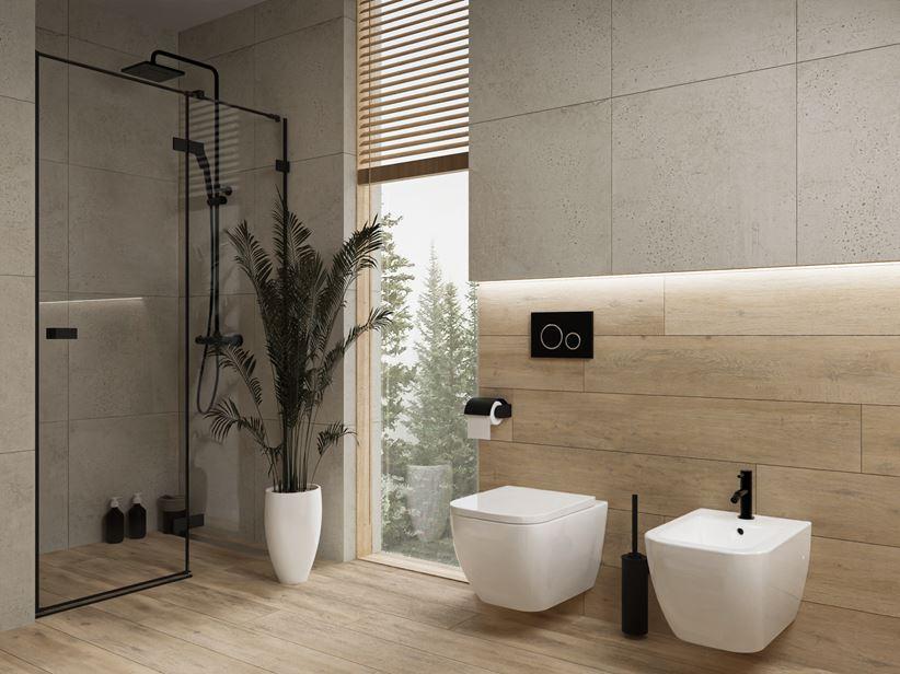 Aranżacja nowoczesnej łazienki z oknem i kamieniu i drewnie