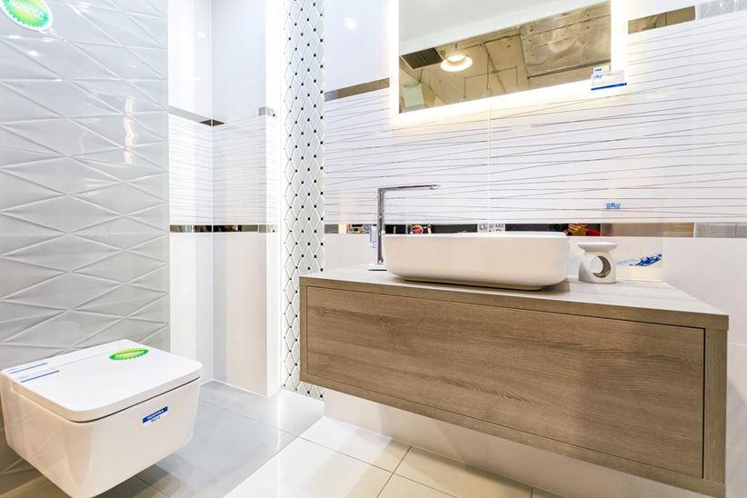 Łazienka w aranżacji płytek Tubądzin Abisso