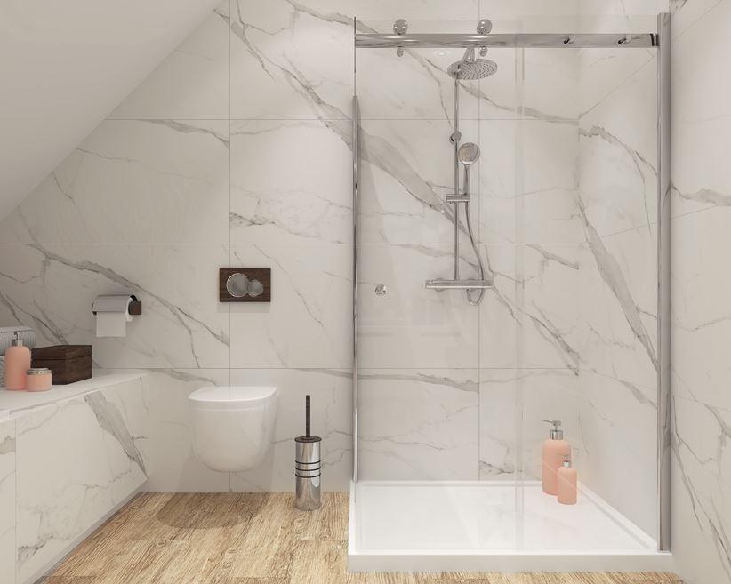 Marmur W łazience Na Poddaszu Paradyż Calacatta Domnipl