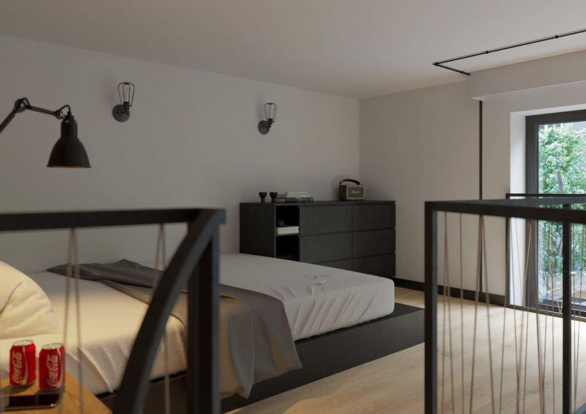 Sypialnia na loftowej antresoli