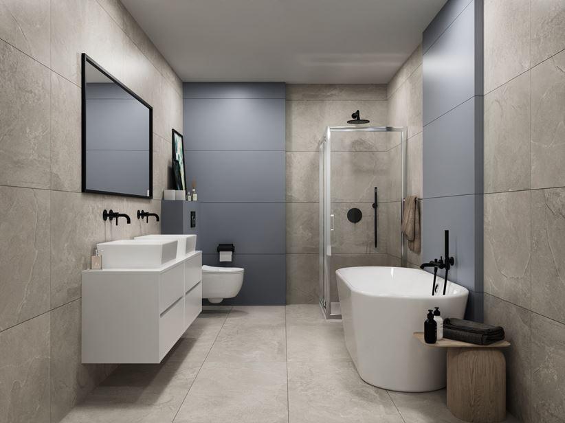 Szara łazienka w kamieniu w nowoczesnym stylu