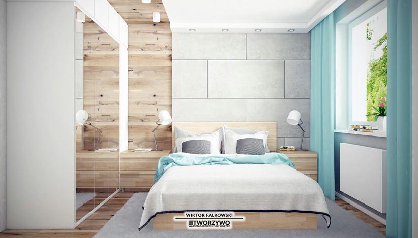 Szarość i drewno w jasnej sypialni