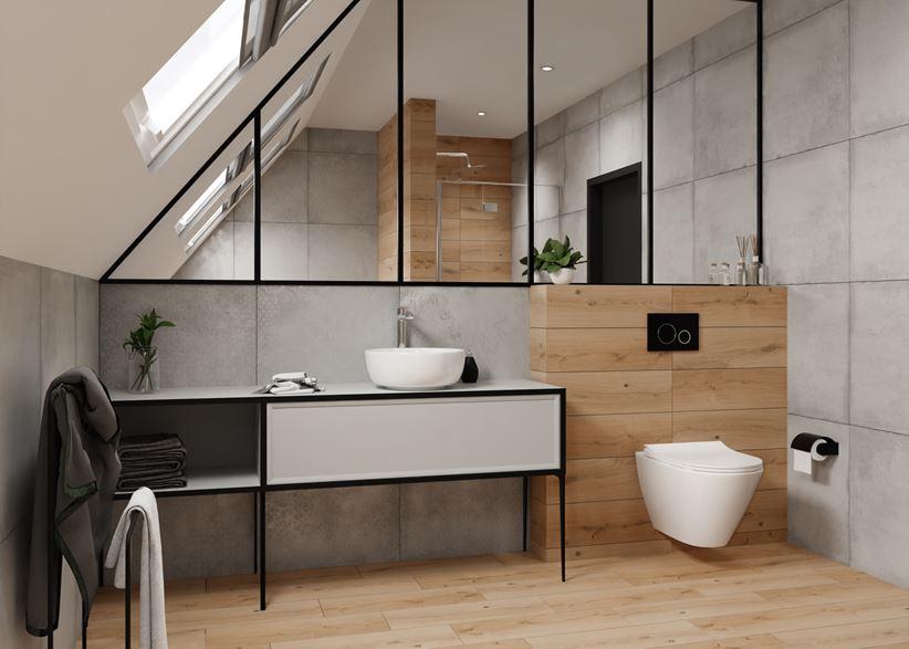 Drewno i beton w nowoczesnej łazience na poddaszu