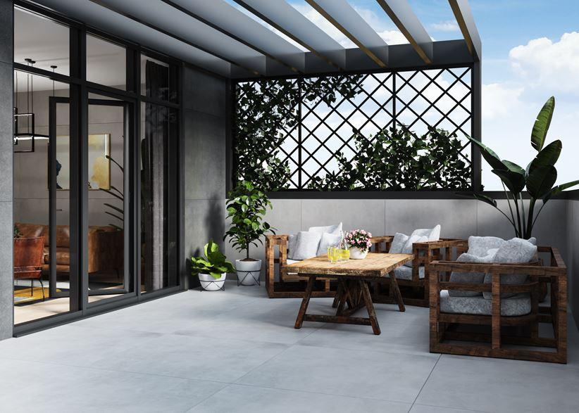 Balkon w płytce wielkoformatowej o wyglądzie betonu