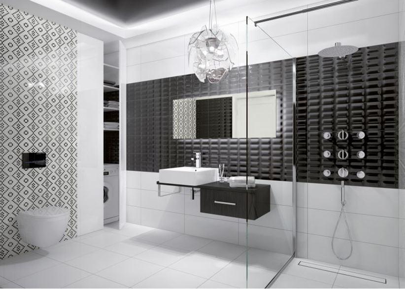 Czarno-biała łazienka z kabiną walk-in Deante Abelia