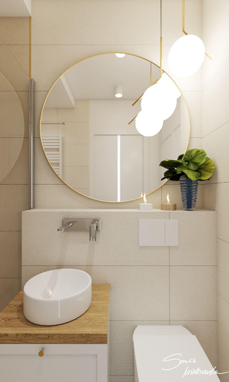 Umywalka stawiana na blacie w białej łazience