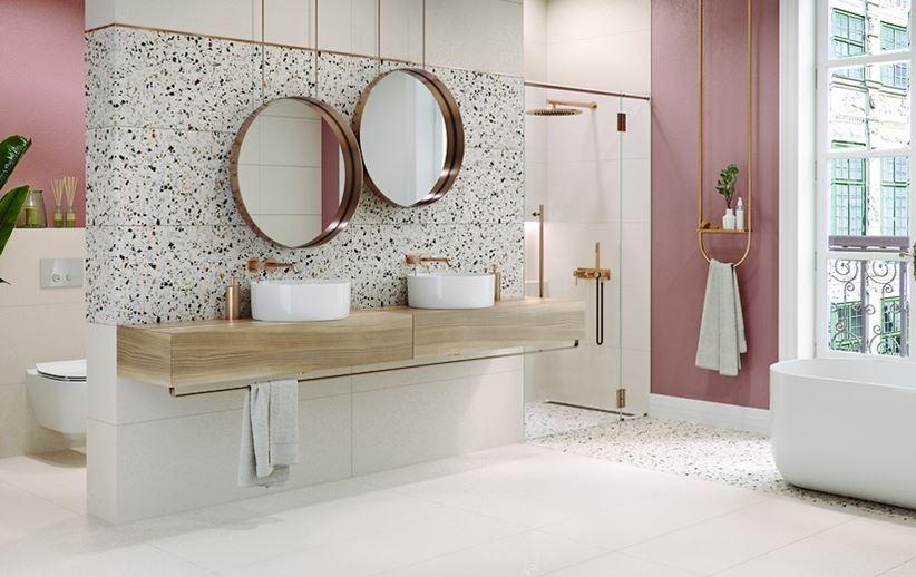 Biało-różowa łazienka z płytami Cersanit Hika