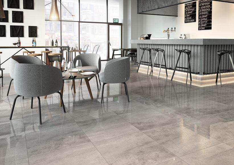 Restauracja w industrialnym stylu z betonowym wykończeniem