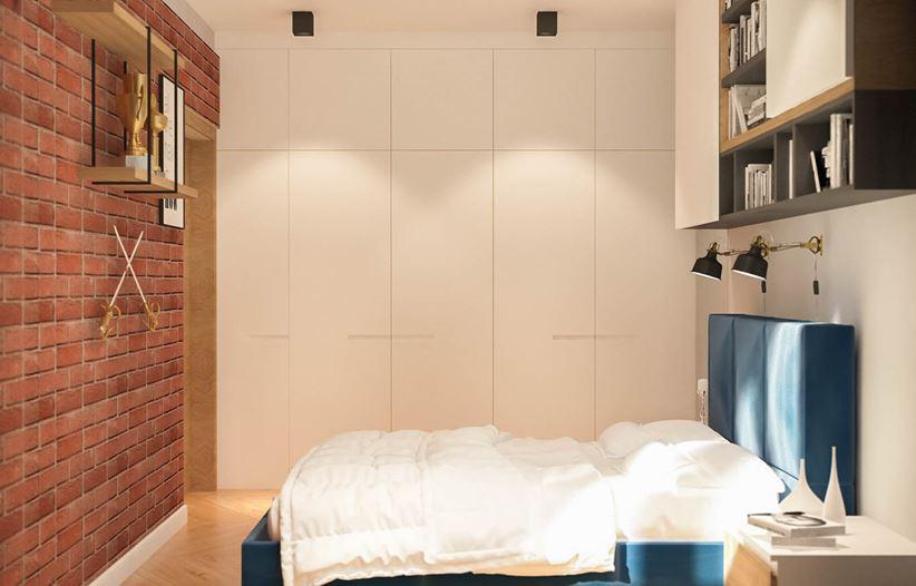 Mała sypialnia z czerwoną cegiełką