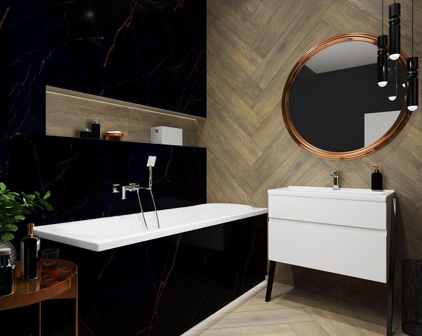 Eleganckie Połączenie Drewna I Marmuru W łazience Domnipl