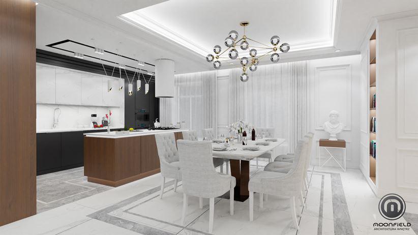 Elegancka kuchnia z jadalnią