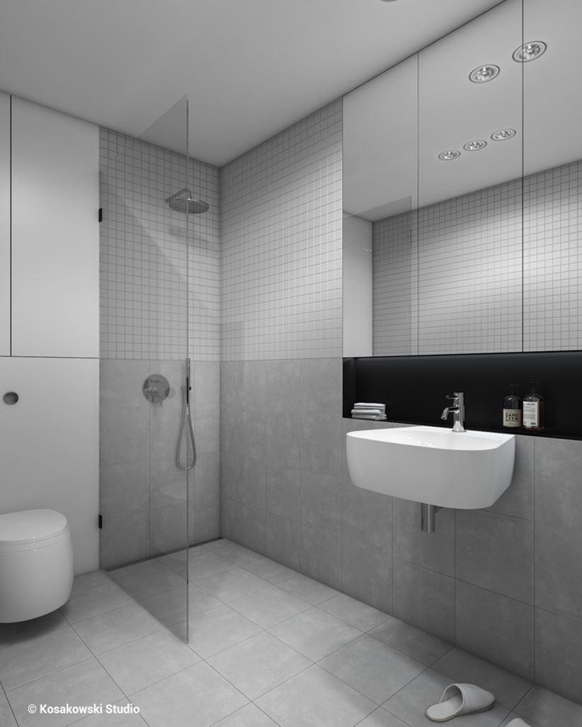 Betonowa łazienka w kawalerce