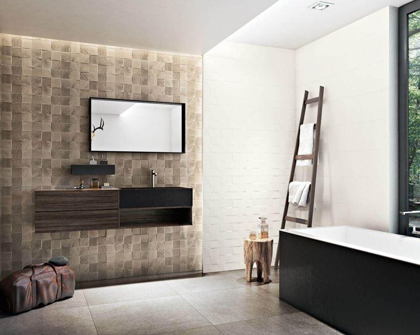 łazienka W Drewnie I Strukturze Paradyż Daikiri Domnipl