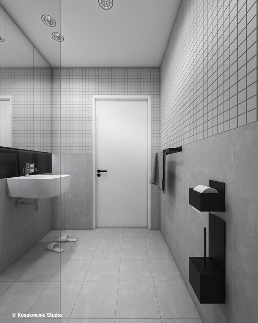 Mała łazienka w betonowej szarości