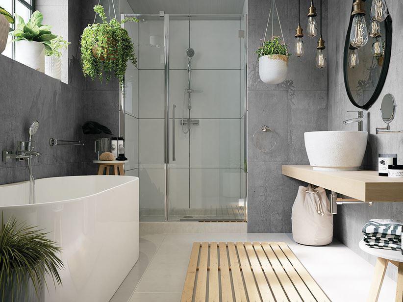 Aranżacja Szarej łazienki Z Florystycznymi Dodatkami Domnipl