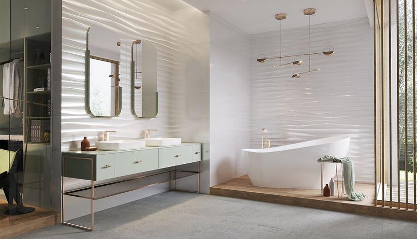 Łazienka w stylu glamour z falistymi płytkami