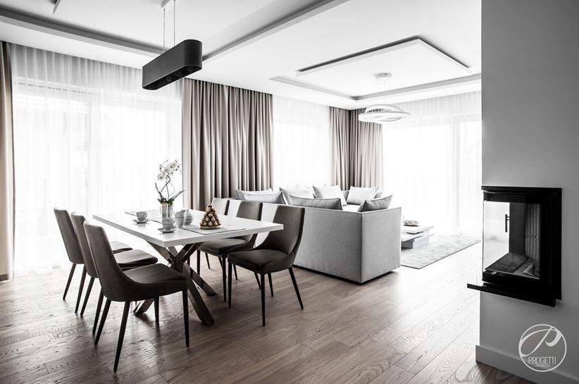 Jadalnia w otwartej przestrzeni dziennej nowoczesnego domu