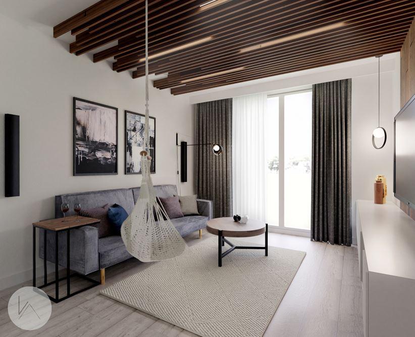 Sufit w drewnianych lamelach