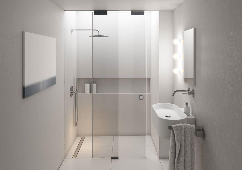 Minimalistyczna łazienka z kabiną z odpływem liniowym Schedpol Base-Low