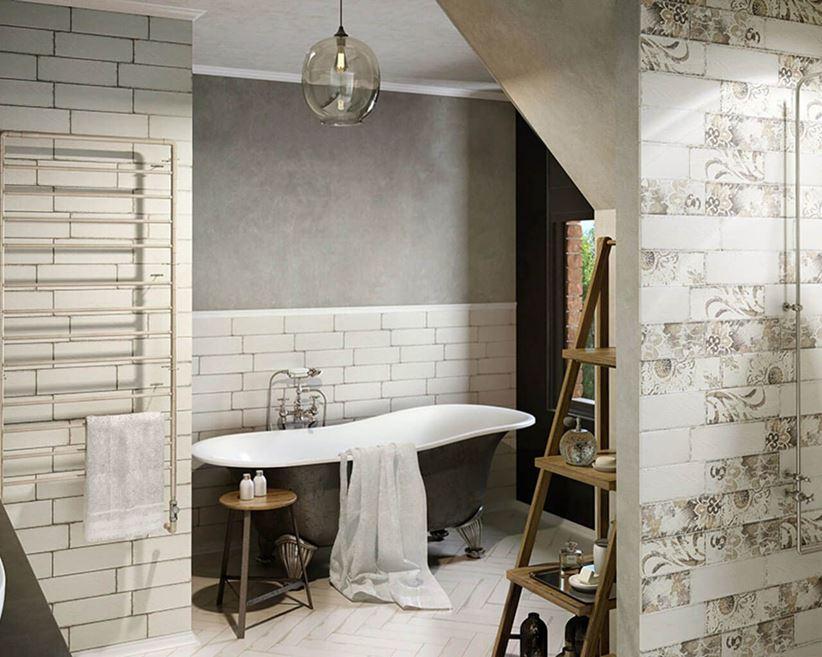 łazienka W Stylu Retro Z Florystycznymi Dekorami Domnipl