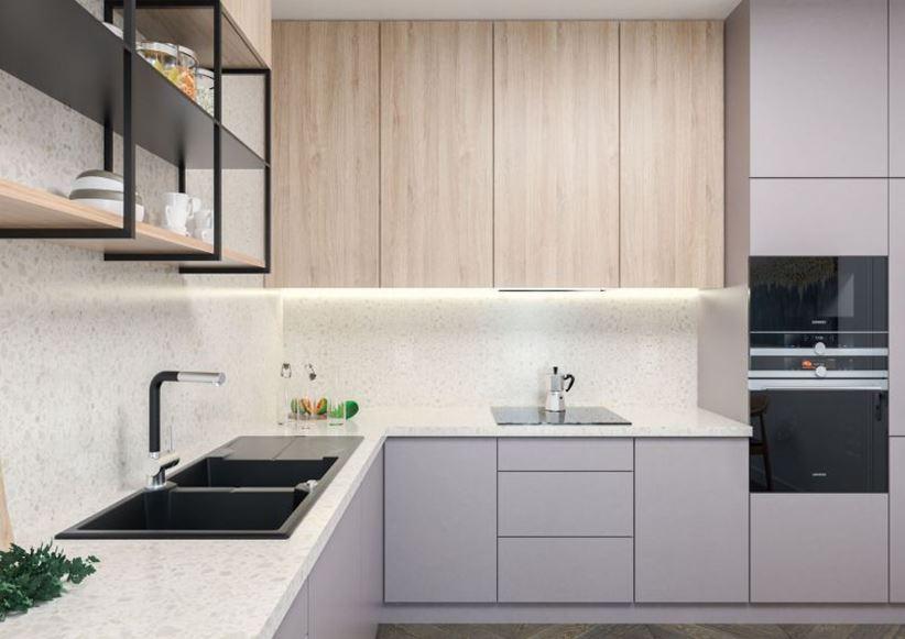 Jasna nowoczesna kuchnia z otwartymi półkami