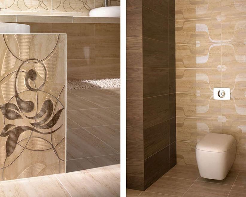 łazienka W Brązowych I Beżowych Płytkach Imitujących Kamień
