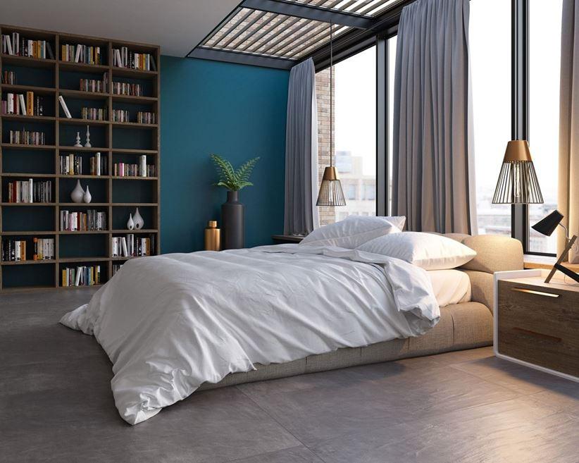 Aranżacja nowoczesnej sypialni z kamienną podłogą