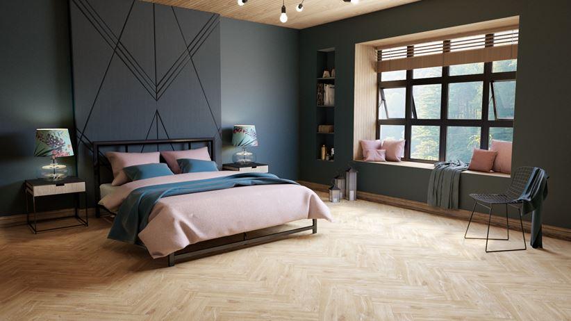 Sypialnia w ciemnych barwach i drewnie
